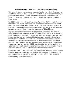 May 2015 Caravan Chair Report