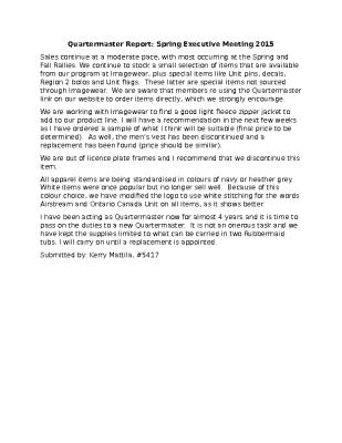 May 2015 Quartermaster Report