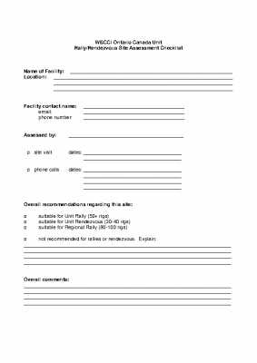 2019 Rally Site Assessment Form