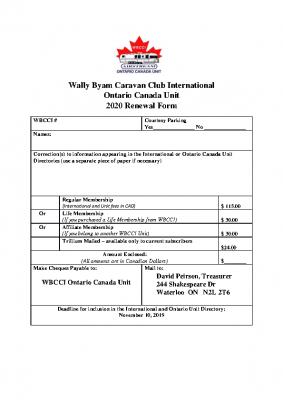 2020 Membership Renewal Application